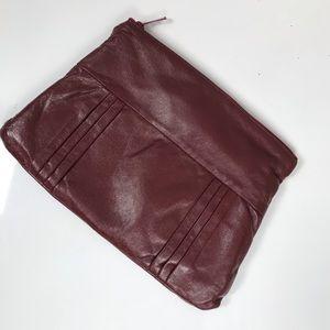 Vintage Italian leather dark red clutch supple